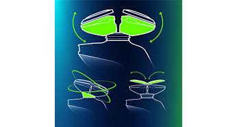 O sistema GyroFlex 3D Philips se ajusta perfeitamente aos contornos do rosto