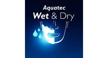 Die Aquatec-Versiegelung sorgt für eine gründliche Trockenrasur und eine erfrischende Nassrasur.