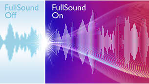 O FullSound enriquece a sua música com graves intensos e nitidez