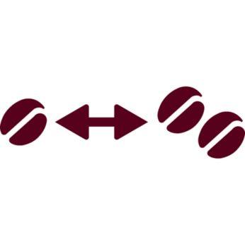 Sistem de selectare a concentraţiei pentru a ajusta tăria cafelei