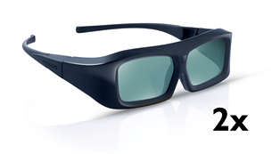2 x gafas de 3D activo para una experiencia de película Full HD 3D
