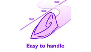 Optimaal ontwerp waardoor het strijkijzer gemakkelijk over de kleding glijdt.