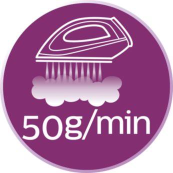 Strumień pary do 50g/min ułatwia rozprasowywanie zagnieceń