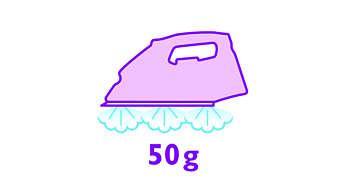 Kırışıklıkların daha iyi giderilmesi için 50 g/dk'ya kadar buhar