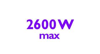 A 2600 W teljesítmény gyors felmelegedést és kiváló hatékonyságot biztosít