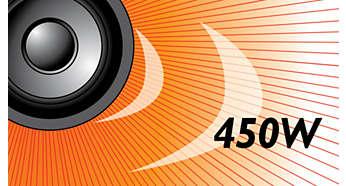 Os 450 W RMS de potência proporcionam um som excelente para filmes e músicas