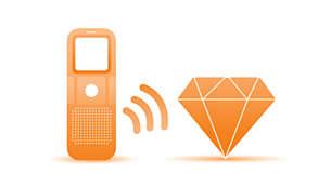 Een luidspreker aan de voorzijde garandeert een glasheldere weergave van uw opname