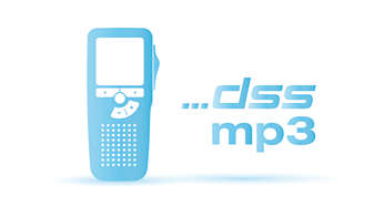 High recording quality in DSS and MP3 format