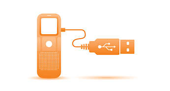 Överför inspelningar och data snabbt via USB 2.0