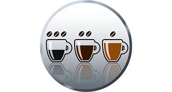 Funktion zur Einstellung der Kaffeestärke für eine individuelle Einstellung der Kaffeestärke