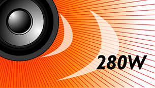 Os 280 W RMS de potência proporcionam um excelente som para filmes e músicas