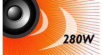 Potencia de 280 W RMS para un sonido increíble de música y películas