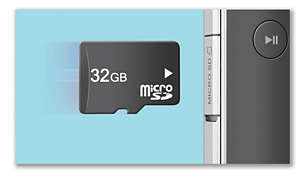 Micro SD card slot for up to 32 GB of 16-hour HD videos