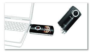 Integrovaná zástrčka USB pro snadné připojení kPC/Mac