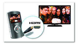 Direct TV connection via HDMI for viewing your videos in HD