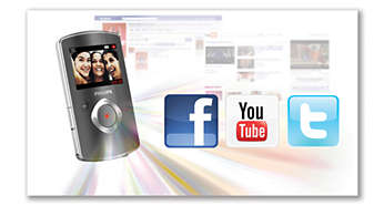 Moeiteloos materiaal e-mailen en naar Facebook of YouTube uploaden