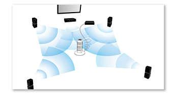 Automatische kalibratie synchroniseert de luidsprekers voor een perfecte akoestiek