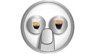 Café espresso y café largo, solo pulsando un botón