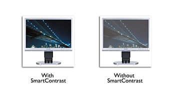 SmartContrast 400000:1 zapewnia głęboką czerń i większe bogactwo szczegółów