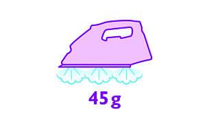 Saída de vapor até 45 g/min. para uma melhor remoção dos vincos
