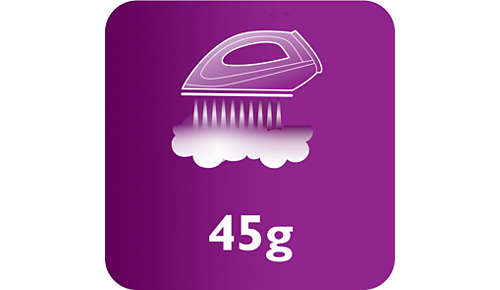 Konstant ångutsläpp upp till 45g/min för bättre borttagning av veck