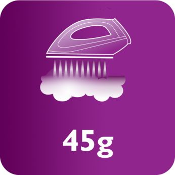 Steam output of up to 45 g/min for better crease removal