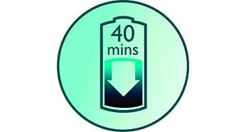 Tot 40 minuten draadloos scheren