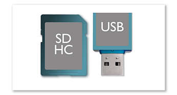 USB Direct and SDHC card slots for MP3/WMA playback