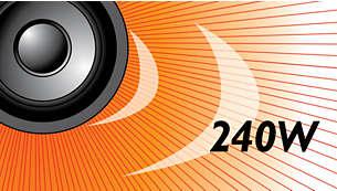 Os 240 W RMS de potência proporcionam um excelente som para filmes e músicas
