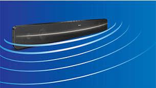 Geschwungenes SoundBar-Design für breitere Klangverteilung