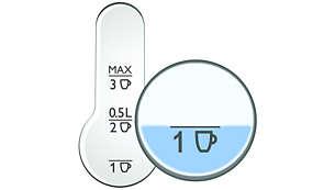 Eenvoudig afleesbare waterniveau-indicator aan elke kant