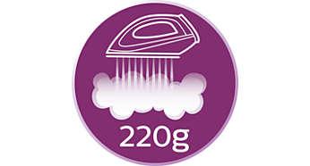 Dampfstoß von bis zu 220g zum Glätten hartnäckiger Falten