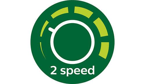 2 speeds for soft or hard fruit and vegetables