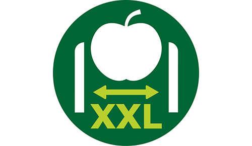 Tack vare XXL-inmatningsröret (80 mm) slipper du skära ingredienserna