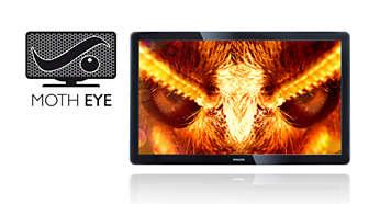 """Технология Moth Eye (""""глаз мотылька"""") обеспечивает самую высокую контрастность изображения и сводит бликование к минимуму"""