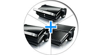 Várias posições para grelhar: mesa, forno e por contato
