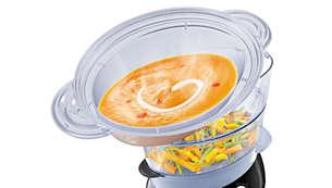 Taça de vaporização XL para sopa, guisados, arroz, etc.