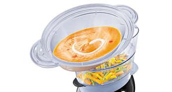 XL-höyrytysastia esimerkiksi keittoa, pataruokia ja riisiä varten