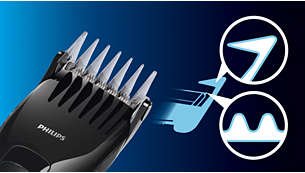 Skin-friendly blades and combs are gentle on skin