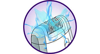 Cabeça de depilação totalmente lavável para uma melhor higiene