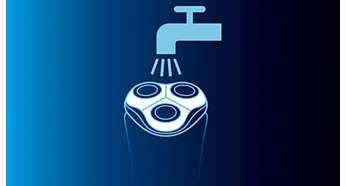 Vaskbar shaver med QuickRinse-system