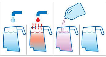 Eficient cu apă rece/caldă de la robinet, cu/fără detergent