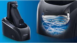 Jet Clean system cleans, charges and renews your shaver
