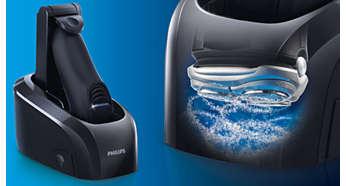 Il sistema Jet Clean pulisce, ricarica e rinnova il tuo rasoio