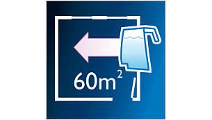 Reinigt mehr als 60m2 mit einer Wassertankfüllung