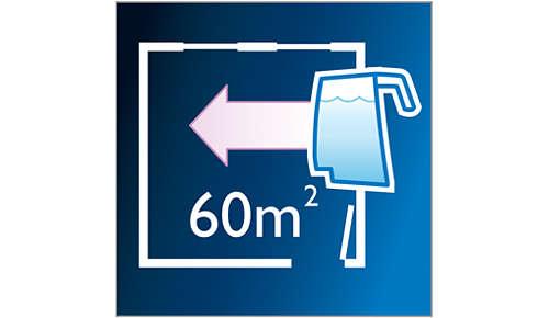 Reinigt meer dan 60m2 per waterreservoir