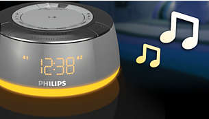 Wake up to melody, radio or buzzer with mood-lights