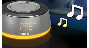 Wake up to a melody, radio or buzzer with mood-lights