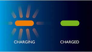 Индикация за зареждане и заредена или изтощена батерия