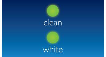Режимы Clean (Чистка) и White (Осветление): удаление потемнений эмали